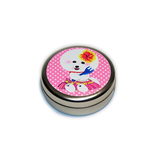 トリーツ缶:丸型【フラビション(ピンクドット)】