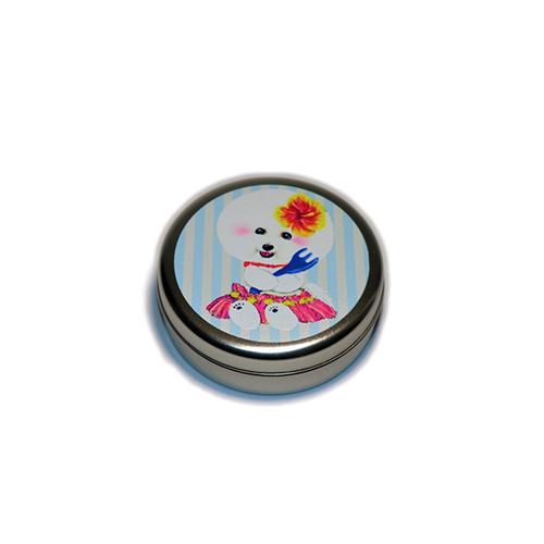 トリーツ缶:丸型【フラビション(ブルーストライプ)】