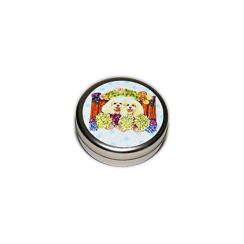 トリーツ缶:丸型【トイプガールズ(ブルードット)】