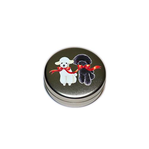 トリーツ缶:丸型【白黒トイプー(レッドリボン)】