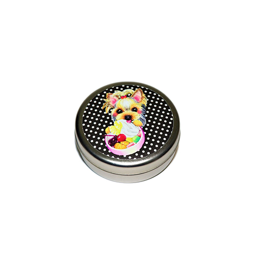 トリーツ缶:丸型【ヨーキーガール(ブラックドット)】